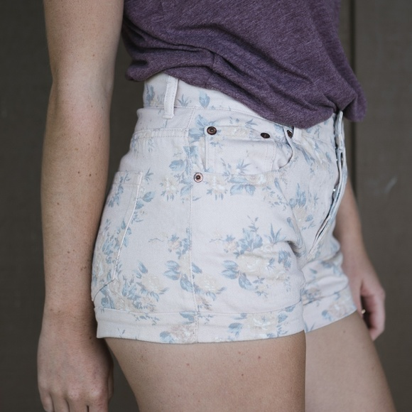 Forever 21 Pants - Floral Print High-Waist Shorts